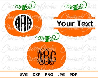 Thanksgiving SVG for Silhouette Cameo Cricut Pumpkin SVG Pumpkin monogram Svg Dxf Split Pumpkin Svg Fall Svg Monogram cut file Fall vector