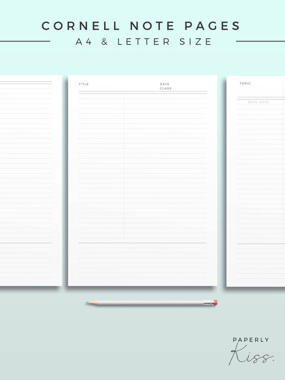 Cornell Note Template Printable Note Inserts Productivity