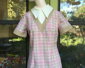 1960s Stockton pink plaid Mini Mod Dress