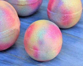 Cereal Killer Bath Bomb Fruit Loops Artisan Orange Bath Fizzes Rainbow Hand Painted Citrus Fruity Bath Truffle Colorful Bath Bomb Gift Favor