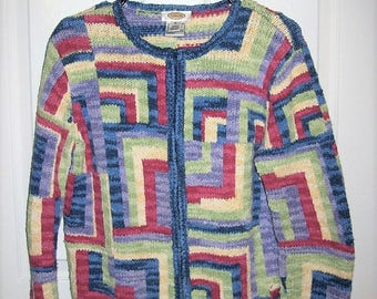 Vintage Ladies Rainbow Multi Color Cardigan Sweater by Talbots Medium Only 9 USD