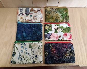 Notion Bag 4 x 6 lined zipper