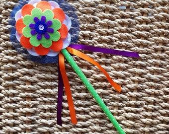 Flower Fairy Magic Wand - Flower Girl Wand - navy blue centre