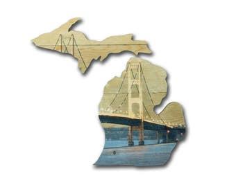 Michigan Wood Cutout, Rustic Wood Decor, Custom Art, Lake Michigan, Michigan State, Michigan Decor, Michigan Sign, State Sign, State Gift