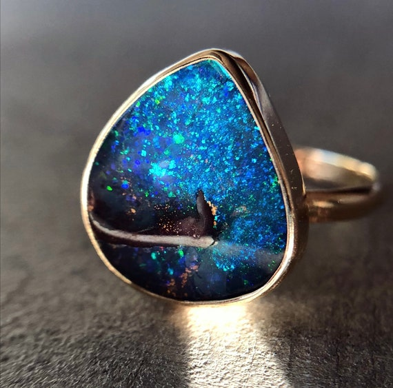 14K yellow gold ring with Australian boulder opal SZ 6