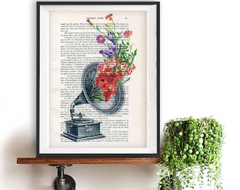 Music Gramophone flower print whimsical french shabby chic illustration dictionary print vintage wall art decor decoration gift Christmas