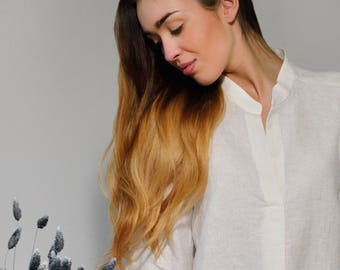 Linen White Longsleeve Shirt/Blouse With Collar-Stand/ Linen Shirt/ Linen Tank Longsleeve/ Linen Top Eco Friendly