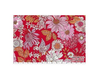 HALF YARD Lecien - Memoire a Paris Fall 2017 - Floral on Raspberry RED with Yellow 40738-31 - Cotton Lawn - Flowers - Japanese Import