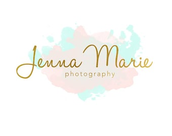 Pre-made Logo Design & Photography Watermark - Watercolor logo - Gold Logo - Watermark Design - Photography Logo - Premade Logo Design 657