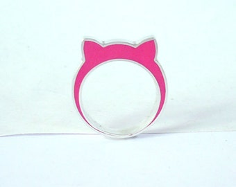 Handmade sterling silver and pink resin cat ears ring.
