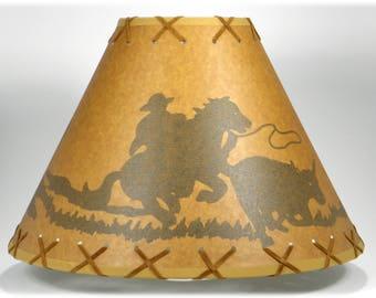Cowboy lamp shade etsy oiled kraft suede laced rustic lampshade cowboy calf 14 aloadofball Gallery