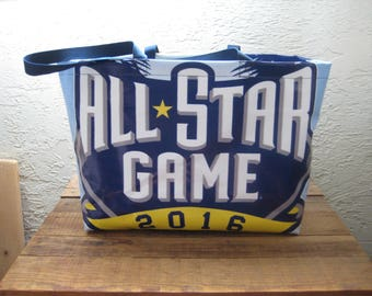"Upcycled Recycled Reusable ""Baseball All Star Game 2016"" Vinyl Banner Extra Large Market Tote Bag Purse"