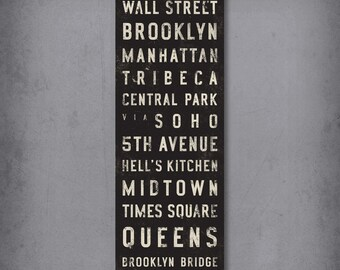 NEW YORK CITY Bus Scroll, Custom Subway Sign, Vintage Tram Roll, Canvas