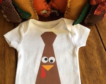 Turkey Tie Onesie/Body or T-Shirt for Baby and Toddlers.