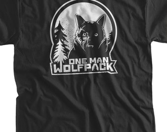 Funny Shirt One man Wolf Pack t-Shirt the hangover beer collage friends Geek Mens Ladies Womens Youth Kids