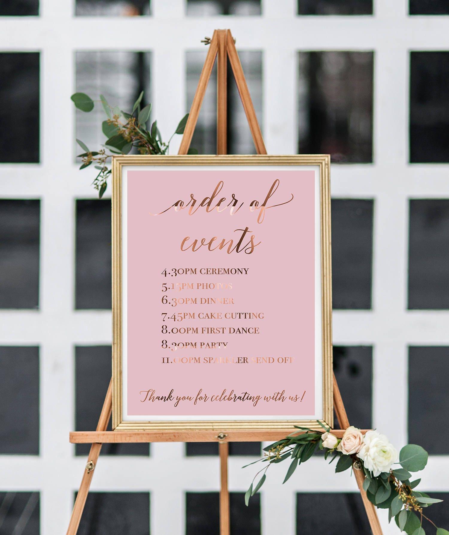 WEDDING order of events / custom wedding timeline /