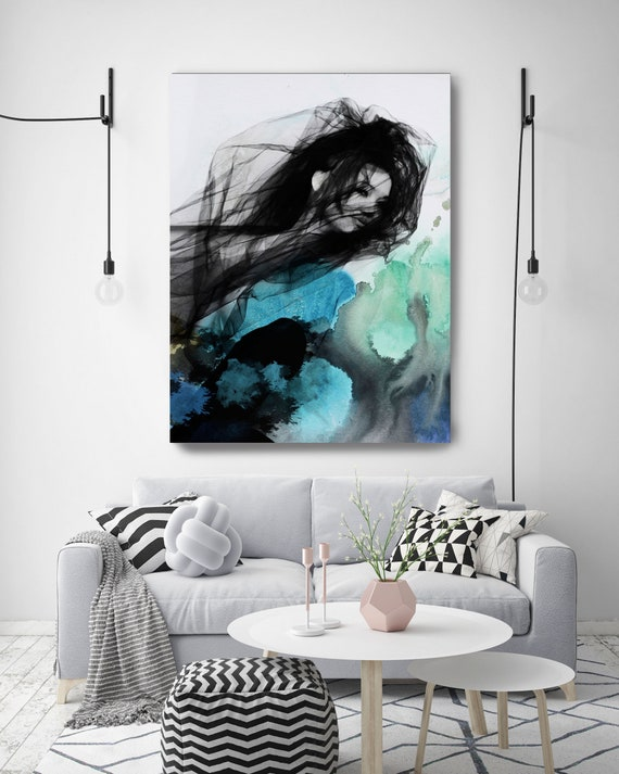 """ORL-9793-4-2 Blue Butterfly 8, Figurative Mixed Media Contemporary Blue Black Woman Canvas Art Print up to 72"""" by Irena Orlov"""