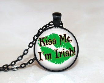 St. Patrick's Day Necklace Glass Tile Necklace  Glass Tile Jewelry Irish Holiday Jewelry Glass Tile Jewelry Black Jewelry