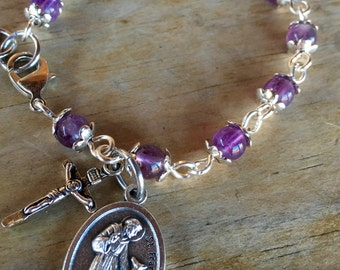 Prayer bracelet, handmade with genuine amethyst gemstone beads, small crucifix and St. Francis bless and protect my pet medallion
