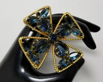 Blue Maltese Cross Brooch