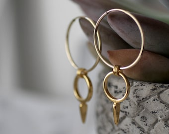 Mother's day, Dangle earrings gold, gold hoop earrings large, double hoop earrings, drop hoop earrings, boho hoop earrings, mother gift