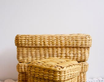 storage basket set three piece hand woven