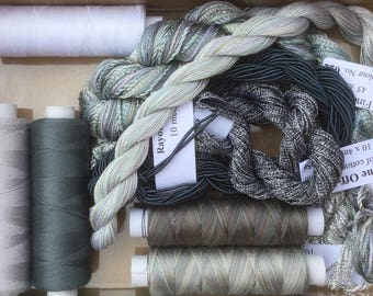 Thread Collections, Silk, Cotton, Viscose,  Hand Dyed Embroidery Threads, Hand Dyed Machine Threads, Quilting Threads, Shades of Grey