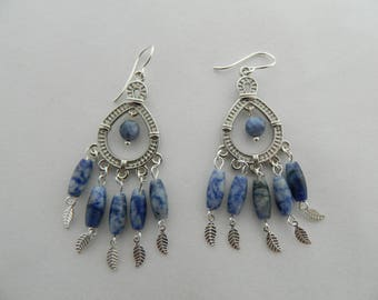 Blue Sodalite Chandelier Earrings BOHO style dangle