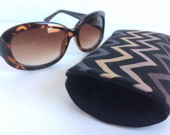 Eyeglass Pouch - Padded Sunglass Case - Chevron Sunglass Pouch