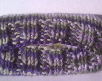 Knitted Tissue Cozy, Purple Blue Green