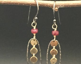 Oval oxidized rings with rubies and 14k gold fill earrings, earrings under 100