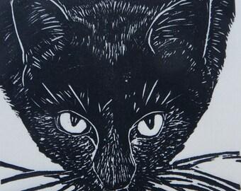 Woodblock print: Cat