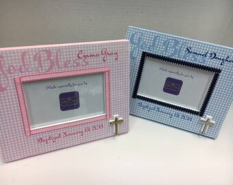 Twin Baby Baptism Frames- Gingham Pattern