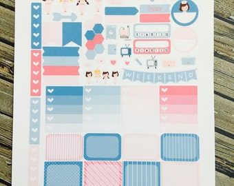 Friendly Nurses Weekly Planner Stickers Set, for use with Erin Condren Life Planner, Happy Planner
