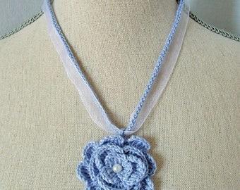 Cotton Blue Flower necklace, crochet lace.