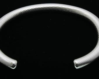 Bangle cuff cable sterling silver, 6mm Made in France