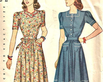 1940's Simplicity  Pattern 4102 Women's Dress Size 14  Bust 32