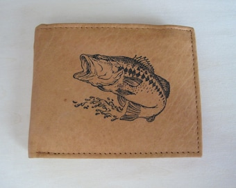 """Mankind Wallets Men's Leather RFID Blocking Billfold w/ """"Large Mouth Bass Fishing"""" Image~Makes a Great Gift!"""