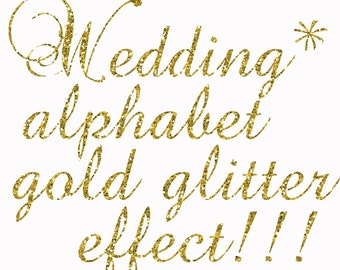"Gold Glitter Alphabet Clipart:""GLITTER ALPHABET"" Gold Glitter Letters Alphabet Clip Art  Gold Digital Alphabet Wedding font Wedding invites"