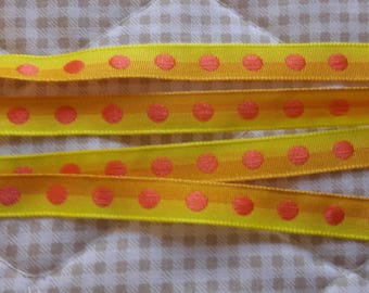 TAPE bicolor yellow/ORANGE polka dots to width 1 cm (10mm) - length 3 meters