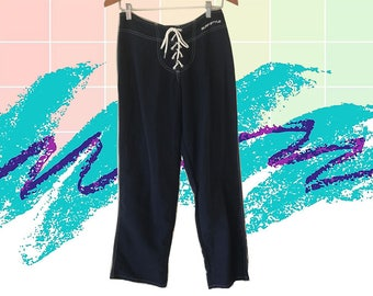 90s Navy Blue Surf Style Lace Up Front Low Rise Straight Leg Pants size Medium