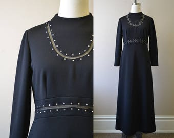 1970s Leslie Fay Black Knit Dress with Rhinestones
