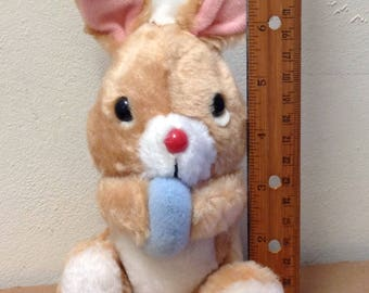"""1970's Easter Bunny rabbit plush with egg basket sitting toy stuffed animal Russ Berrie 8"""" to top of ears soft cuddly retro 70's Holiday"""
