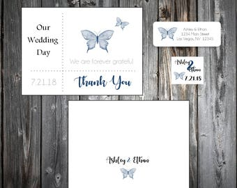 100 Butterfly Wedding Thank You Notes