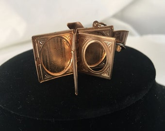 Estate, Victorian  Style Vintage Gold Tone Locket Book Brooch / Pin