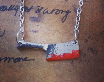 Sweeny Todd Inspired Bloodied Meat Cleaver Necklace