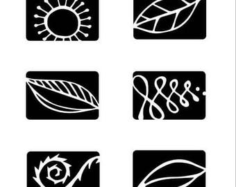 Rubber Stamps for Chalkboard Beads -- Botanicals