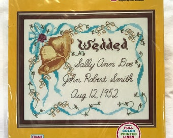 """Vintage Embroidery Kit // Soo-Z Sampler Wedding Bells S105 // Personalize with Names and Wedded/Wedding Date // to Frame in 11"""" x 14"""" Frame"""