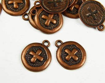 10 Pcs - Round Cross Pattern Red Copper Charm - 19x15x2mm - Copper Charms - Cross Charm -  Pendants - Jewelry Supplies