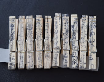 Set of 10 Hand Stamped Clothes Pins - Music